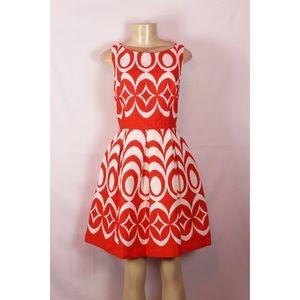 JUST TAYLOR ORANGE/WHITE PRINT FIT& FLARE DRESS 10